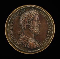 Image for Commodus, Emperor, reigned A.D. 177-192 [obverse]; Salus Feeding a Serpent [reverse]