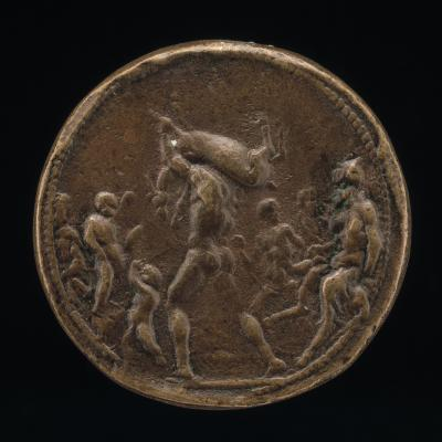 Image for Classical Subject: Male Figure Carrying a Stag [obverse]; Classical Subject: Flaming Tripod on Altar [reverse]