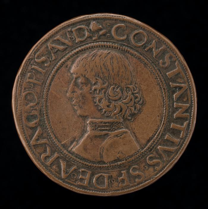 Image for Costanzo Sforza, 1447-1483, Lord of Pesaro 1473 [obverse]; The Castle of Pesaro [reverse]