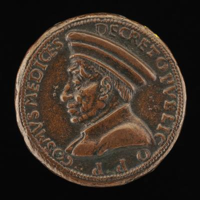 Image for Cosimo de' Medici, 1389-1464, Pater Patriae [obverse]; Florence Holding an Orb and Triple Olive Branch [reverse]