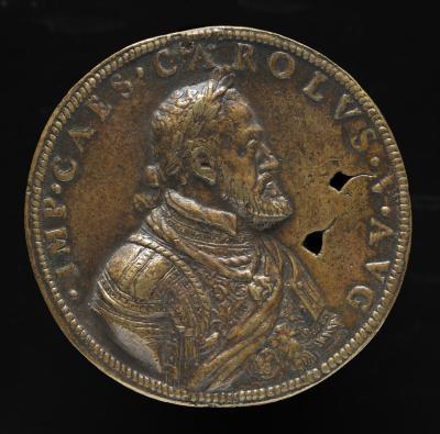 Image for Charles V, 1500-1558, King of Spain 1516-1556, Holy Roman Emperor 1519 [obverse]; Jupiter Thundering against the Giants [reverse]