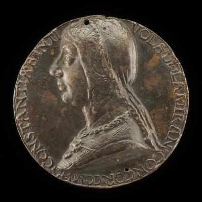 Image for Costanza Bentivoglio, Wife of Antonio Pico della Mirandola 1473, Countess of Concordia 1483 [obverse]; Constancy Leaning on Tall Staff [reverse]