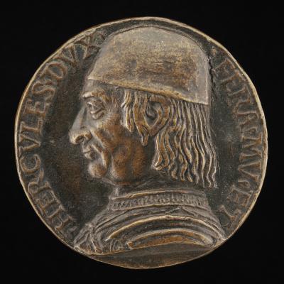 Image for Ercole I d'Este, 1431-1505, Duke of Ferrara, Modena, and Reggio 1471 [obverse]; Minerva Resting on a Spear and Shield [reverse]