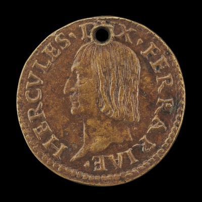 Image for Ercole I d'Este, 1431-1505, 2nd Duke of Ferrara, Modena, and Reggio 1471 [obverse]; Nude Man on Horseback [reverse]