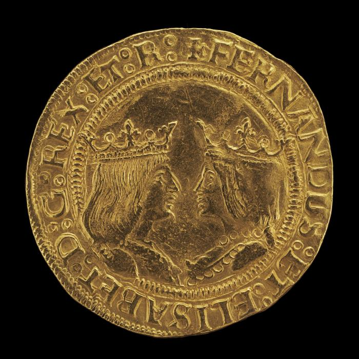 Image for Ferdinand II, 1452-1516, King of Aragon 1479, and Isabella, 1451-1504, Queen of Castile and León 1474 [obverse]; Eagle Displaying Crowned Shield of Aragon and Castile [reverse]