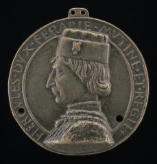 Image for Ercole I d'Este, 1431-1505, Duke of Ferrara, Modena, and Reggio 1471 [obverse]; Hercules and Three Columns in the Sea [reverse]