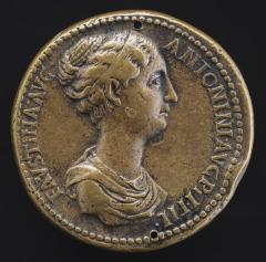 Image for Faustina Junior, died A.D. 176, Wife of Marcus Aurelius [obverse]; Empress and Five Women Sacrificing [reverse]