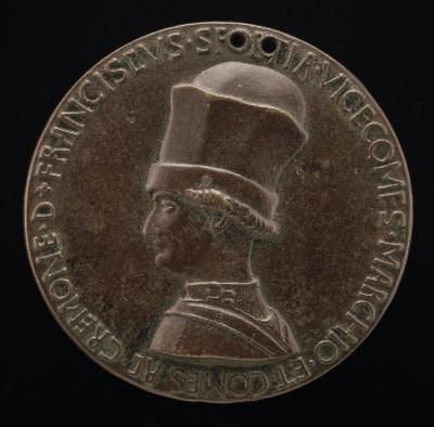 Image for Francesco I Sforza, 1401-1466, 4th Duke of Milan 1450 [obverse]; Charger, Books and Sword [reverse]