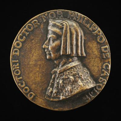 Image for Filippo Cassoli, died 1391, Jurist, Diplomat, and Teacher [obverse]; Man Walking on Town Walls [reverse]