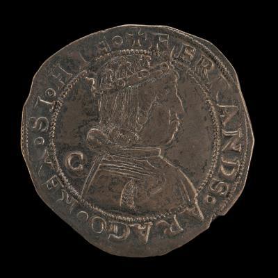 Image for Ferdinand (Ferrante) I of Aragon, 1423-1494, King of Naples 1458 [obverse]; Saint Michael Spearing the Dragon [reverse]