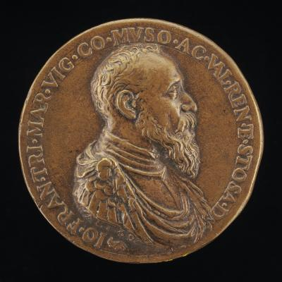 Image for Gianfrancesco Trivulzio, 1504-1573, Marquess of Vigevano 1518 and Count of Mesocco 1518-1549 [obverse]; Fortune on a Dolphin [reverse]