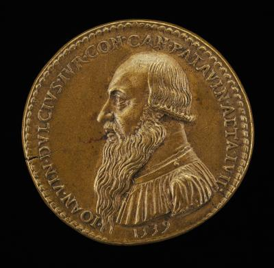 Image for Giovanni Antonio Vincenzo Dolce, 1482-1555, Paduan Jurist, Canon of Padua 1516 [obverse]; Genius Holding a Dolphin and Sacrificing [reverse]