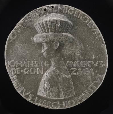 Image for Gianfrancesco I Gonzaga, 1395-1444, 1st Marquess of Mantua 1433 [obverse]; Gianfrancesco I Gonzaga Riding in a Rocky Landscape [reverse]