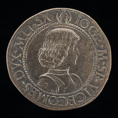 Image for Giangaleazzo Maria Sforza, 1469-1494, 6th Duke of Milan 1476 [obverse]; Shield with Two Crests [reverse]