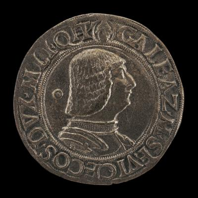 Image for Galeazzo Maria Sforza, 1444-1476, 5th Duke of Milan 1466 [obverse]; Crowned Casque with Dragon Crest [reverse]