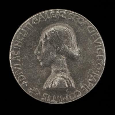 Image for Galeazzo Maria Sforza, 1444-1476, Count of Pavia [obverse]; Sunburst with Cherub's Head [reverse]