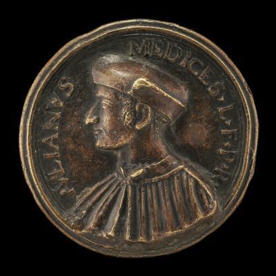Image for Giuliano II de' Medici, 1478-1516, Duc de Nemours [obverse]; Florence Leaning on the Medici Shield [reverse]