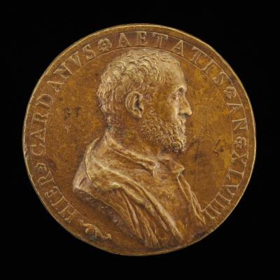Image for Girolamo Cardano, 1501-1576, Physician and Philosopher of Pavia [obverse]; Vision of People Approaching a Vine [reverse]