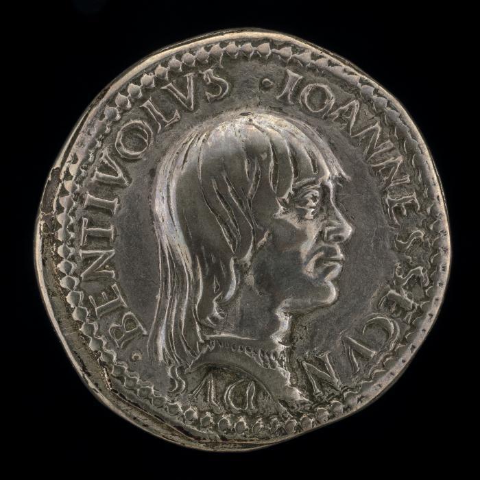 Image for Giovanni II Bentivoglio, 1443-1509, Lord of Bologna 1462-1506 [obverse]; Shield of Bentivoglio [reverse]