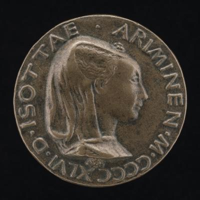 Image for Isotta degli Atti, 1432/1433-1474, Mistress 1446, then Wife after 1453, of Sigismondo Malatesta [obverse]; A Closed Book [reverse]