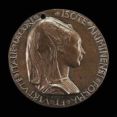 Image for Isotta degli Atti, 1432/1433-1474, Mistress 1446, then Wife after 1453, of Sigismondo Malatesta [obverse]; The Malatesta Elephant in a Meadow [reverse]