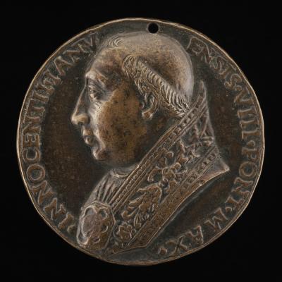 Image for Innocent VIII (Giovanni Battista Cibò, 1432-1492), Pope 1484 [obverse]; Justice, Peace, and Abundance [reverse]