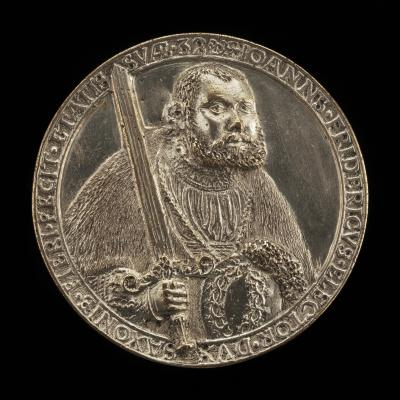 Image for Johann Friedrich, 1503-1554, Elector of Saxony 1532 [obverse]; Shield with Helms and Crests [reverse]