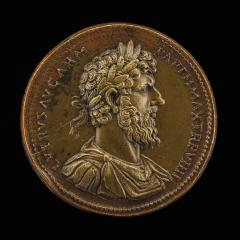 Image for Lucius Verus, Emperor, reigned A.D. 161-169 [obverse]; Roma, the Emperor, and Victory [reverse]