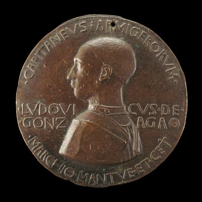 Image for Lodovico III Gonzaga, 1414-1478, 2nd Marquess of Mantua 1444 (obverse); The Marquess in Armor, Riding [reverse]