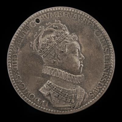 Image for Louis XIII, 1601-1643, King of France 1610 [obverse]; Hand Holding Sacred Ampulla over Rheims [reverse]