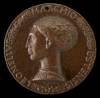 Image for Leonello d'Este, 1407-1450, Marquess of Ferrara 1441 [obverse]; Two Nude Men Carrying Baskets with Olive Branches [reverse]