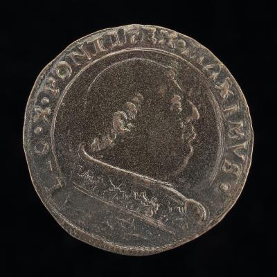 Image for Leo X (Giovanni de' Medici, 1475-1521), Pope 1513 [obverse]; Rampant Lion Holding Banner [reverse]