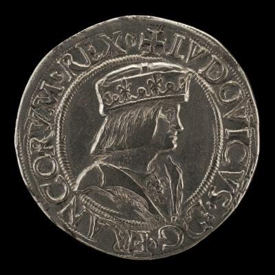 Image for Louis XII, 1462-1515, King of France 1498, as Duke of Milan 1500-1513 [obverse]; Saint Ambrose on Horseback, Wielding Scourge [reverse]