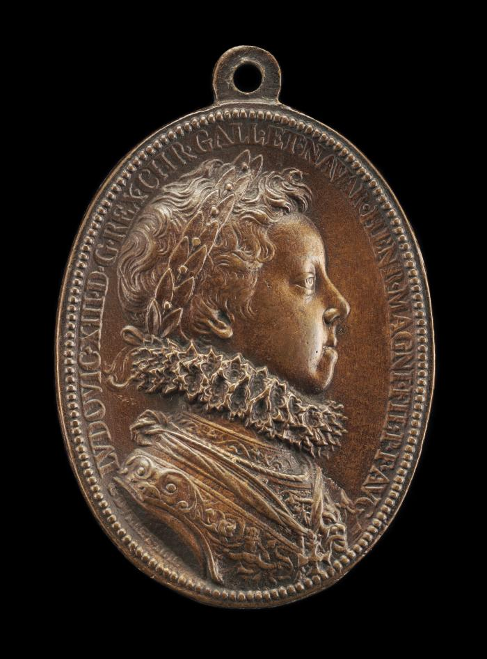 Image for Louis XIII, 1601-1643, King of France 1610 [obverse]; Young Louis, and Minerva [reverse]