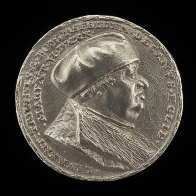 Image for Lorenz Truchsess von Pommersfelden, 1473-1543, Dean of the Cathedral of Mainz [obverse]; Hour-glass on an Inscribed Tablet [reverse]