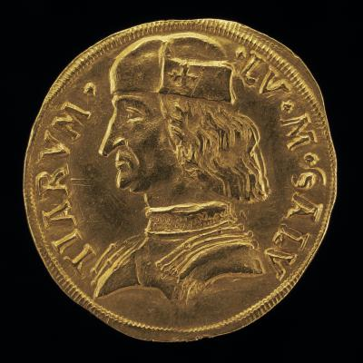 Image for Lodovico II, 1438-1504, Marquess of Saluzzo 1475 [obverse]; Crowned Shield, Eagle Crest [reverse]