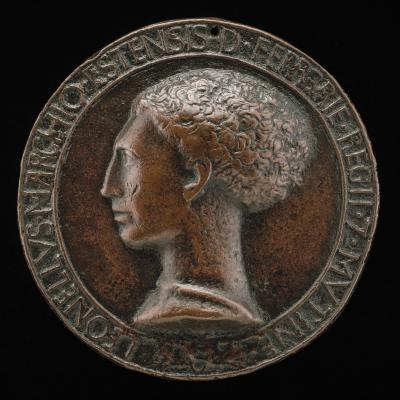 Image for Leonello d'Este, 1407-1450, Marquess of Ferrara 1441 [obverse]; Nude Youth Lying before a Rock [reverse]