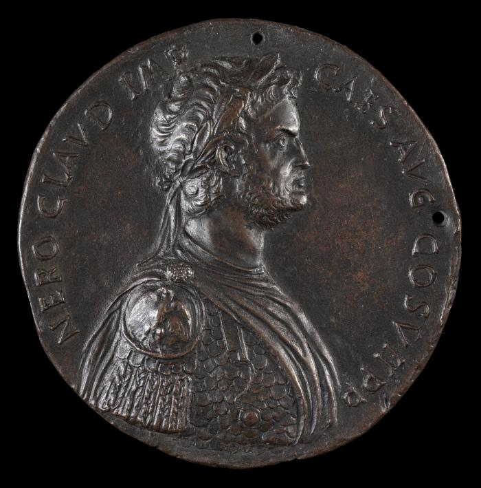 Image for Nero, 37-68, Roman Emperor 54 [obverse]; Nero, Laureate, Seated Under Palm Tree [reverse]