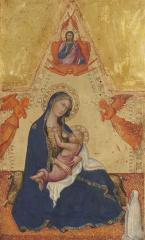 Image for Madonna of Humility, The Blessing Christ, Two Angels, and a Donor [obverse]; The Crucifixion [reverse]