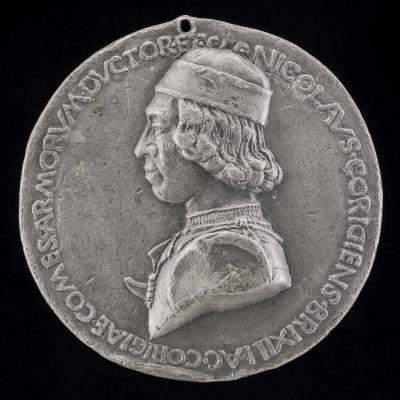 Image for Niccolò da Correggio, 1450-1508, Count of Brescello 1480 [obverse]; Niccolo da Correggio and a Friar [reverse]