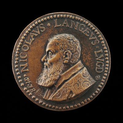 Image for Nicolas de Lange, 1525-1606, Jurisconsult, Antiquarian, and Numismatist [obverse]; Apollo and Coins of Augustus [reverse]