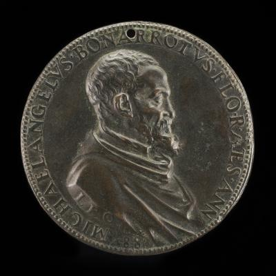 Image for Michelangelo Buonarroti, 1475-1564, Florentine Artist [obverse]; Blind Man with a Staff and Water-flask, Led by a Dog [reverse]