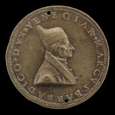 Image for Marco Barbarigo, c. 1413-1486, Doge of Venice 1485 [obverse]; Inscription in Wreath of Ivy [reverse]