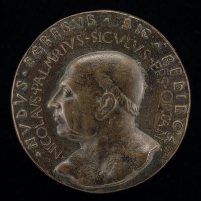 Image for Niccolò Palmieri, 1401-1467, Bishop of Orte 1455-1467 [obverse]; Male Figure Holding an Hourglass [reverse]