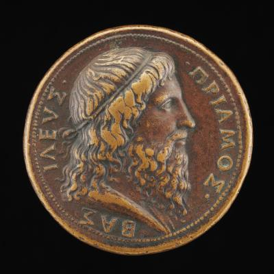 Image for Priam, King of Troy [obverse]; Troy with Galleys in Harbor [reverse]