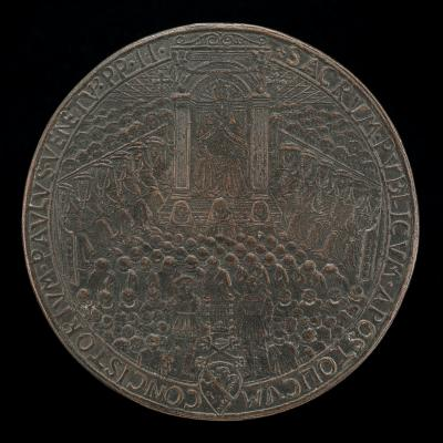 Image for Paul II (Pietro Barbo, 1464-1471), Pope 1464, in Public Consistory [obverse]; Christ in Glory, and the Resurrection [reverse]
