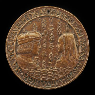 Image for Filiberto II le Beau (the Fair), 1480-1504, 8th Duke of Savoy 1497, and Margaret of Austria, 1480-1530, His Wife [obverse]; Arms of Philibert Impaling those of Margaret [reverse]