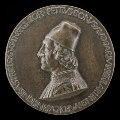 Image for Pietro Bono Avogario, 1425-1506, Physician and Astrologer [obverse]; Aesculapius, Standing on a Dragon, and Urania on a Globe [reverse]