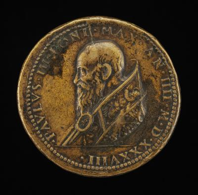 Image for Paul III (Alessandro Farnese, 1468-1549), Pope 1534 [obverse]; Roma with Wolf and Twins above the Tiber River [reverse]