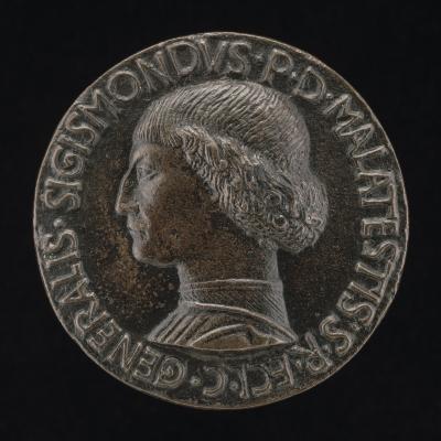 Image for Sigismondo Pandolfo Malatesta, 1417-1468, Lord of Rimini and Fano [obverse]; Shield, Helmet, Elephant-crest, and Mantling [reverse]